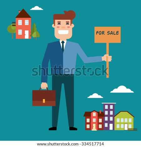 Real estate concept in flat style. Agent for the sale of real estate or a home buyer holding a portfolio and a sign saying the sale of real estate. Supply and demand in the city and outside the city - stock photo