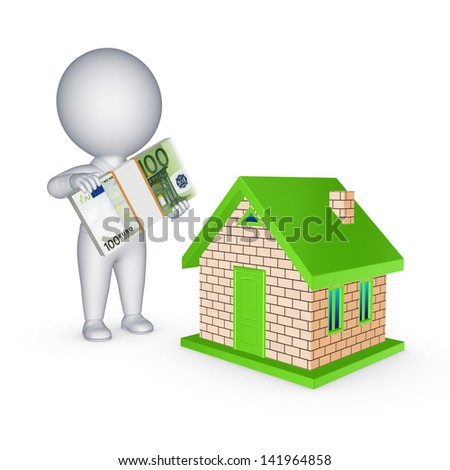 Real estate concept.Isolated on white.3d rendered. - stock photo