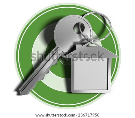 Real estate concept key and house shaped keyring over green target and white background.  - stock photo