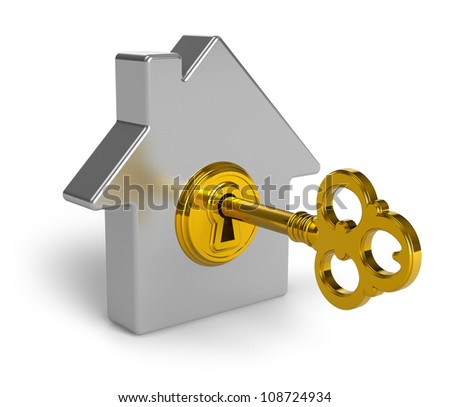Real estate concept: metal house shape symbol with golden key in keyhole isolated on white background - stock photo