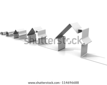 real estate concept price growing with house icons row - stock photo