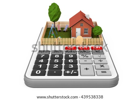 Real Estate Concept. Small House with Fence and Garden over Calculator on a white background. 3d Rendering - stock photo