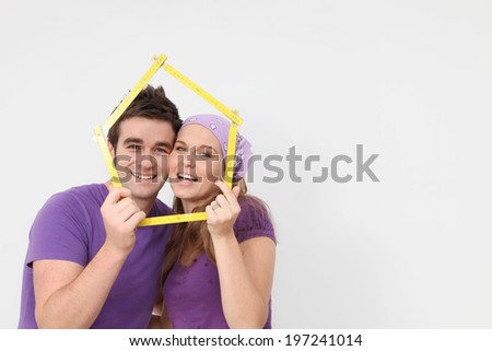 real estate concept young people new first home - stock photo