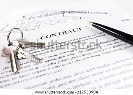 Real estate contract with keys (random latin dummy text used) - stock photo