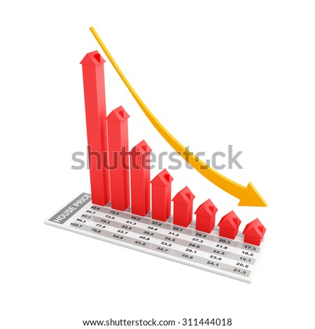 Real estate falling chart, 3d render, white background