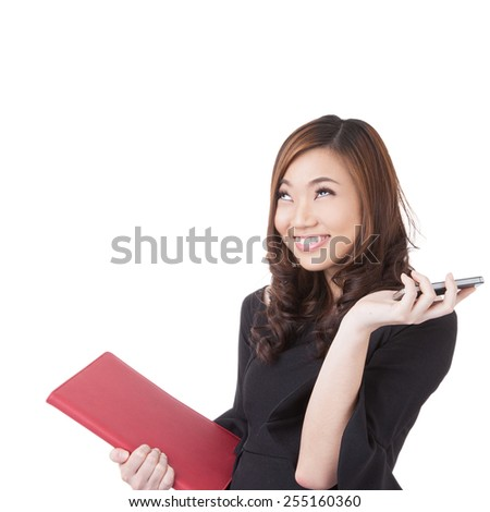 Real estate female agent talking on mobile phone and excited something. Excited businesswoman working in studio isolated on white background. - stock photo