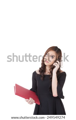 Real estate female Asian agent talking on mobile phone. Busy businesswoman working on white background. With copy space. - stock photo