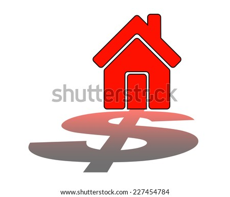 Real Estate Finance. Home with dollar - Stock Image - stock photo
