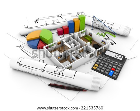 real estate finances concept: house, calculator and graphics over plots isolated on white background - stock photo