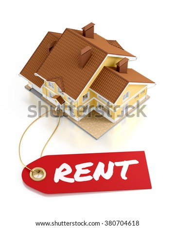 Real Estate For Rent. Composition on the subject of Real Estate Activity. 3D rendered graphics on white background. - stock photo