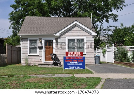 Real Estate For Sale Open House Sign Front yard Lawn Bungalow Suburban Home Residential Neighborhood Sunny USA
