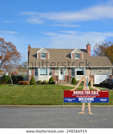 Real estate for sale open house welcome sign Suburban Cape Cod home landscaped beautiful autumn day residential neighborhood USA - stock photo