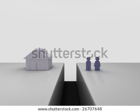 Real estate gap. Conceptual image of a couple being seperated from their house by a trench.