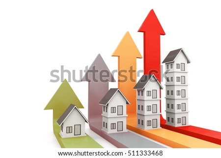 Real estate growth chart. 3d rendering
