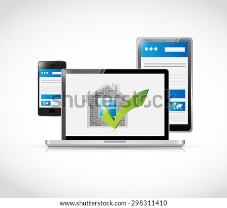 real estate home approve electronics illustration design graphic over a white background - stock photo