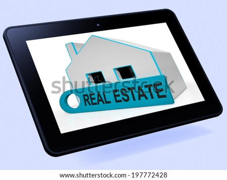 Real Estate House Tablet Meaning Homes Or Buildings On Property Market