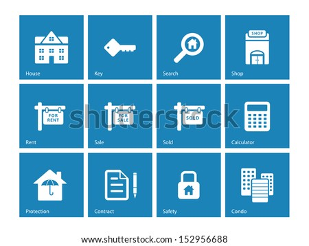 Real Estate icons on blue background. See also vector version. - stock photo