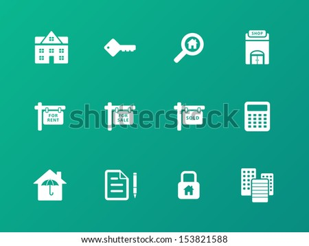 Real Estate icons on green background. See also vector version. - stock photo