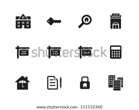Real Estate icons on white background. See also vector version. - stock photo