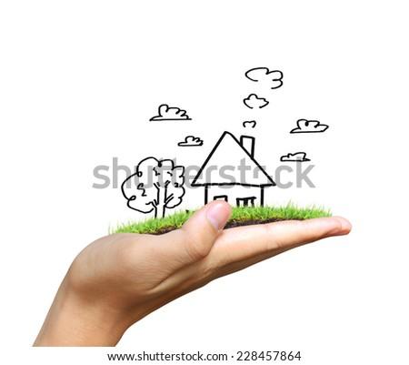 Real estate idea, holding house - stock photo