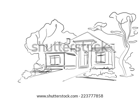 Real Estate Illustration. House Sketch on White Background. - stock photo