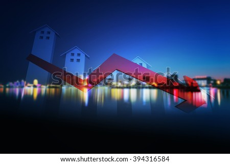 Real estate industry recession decay of the real estate industry The - stock photo