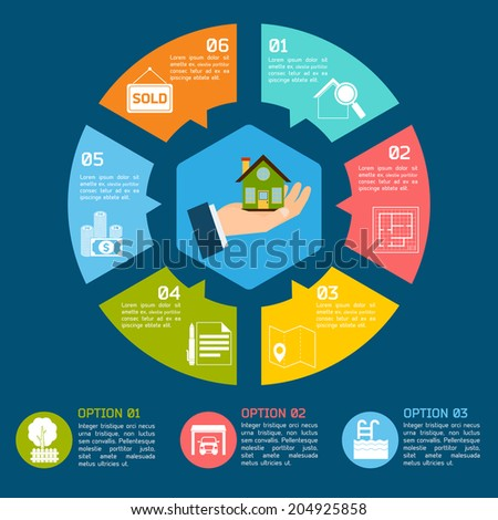 Real estate infographic set with pie chart options  illustration - stock photo