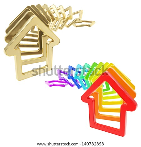 Real estate market collapse: queue line of house emblems falling down as domino effect, isolated over white background, set of two - stock photo