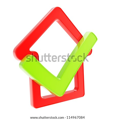 Real estate market conception: checked house glossy red emblem with green yes tick icon inside isolated on white background - stock photo