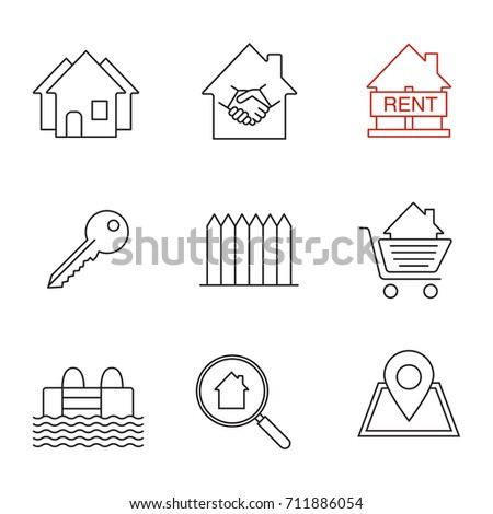 house key outline. isolated vector outline illustrations real estate market linear icons set neighborhood house for rent key fence