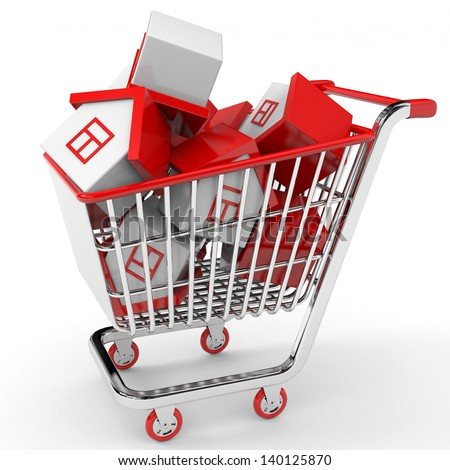 Real estate market. Toy houses in shopping cart. 3D illustration. - stock photo