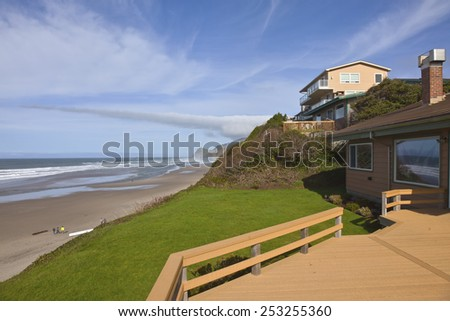 Real estate on the beach in Lincoln City Oregon. - stock photo