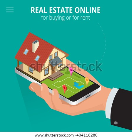 Real estate Online for buying or for rent. Man working with smartphone is looking for a house for buying or for rent, using online searching service. Flat 3d isometric illustration - stock photo