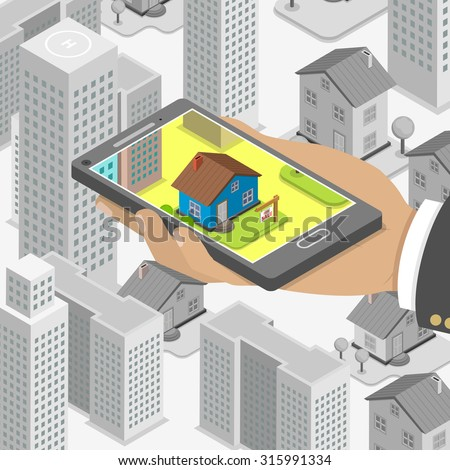 Real estate online searching isometric flat concept. Man with smartphone is looking for a house for buying or for rent, using online searching service. - stock photo