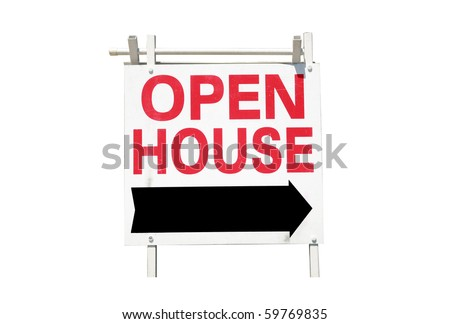Real estate open house sign isolated on white - stock photo