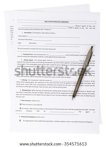Real estate purchase agreement with pen on white background