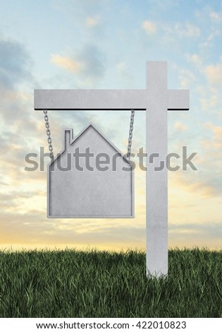 Real estate sign in the shape of a house with a sunset background and room for text or copy space. 3D rendering