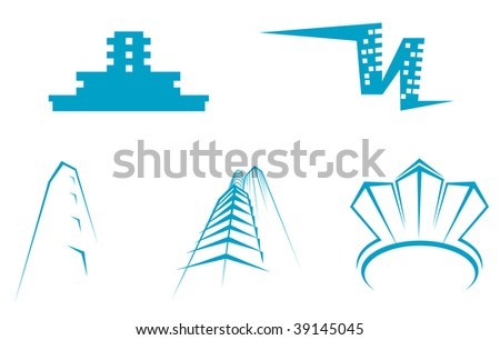 Real estate symbols -buildings and towers. Vector version also available