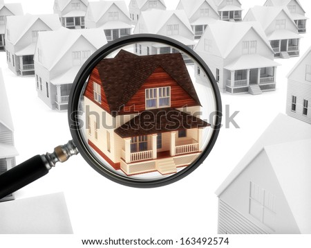 Real estate watch. House with a magnifying glass. Watching the market of real estate, finding a home, or security concept. - stock photo