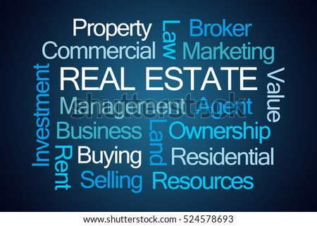 Real Estate Word Cloud on Blue Background