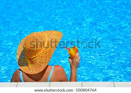 Real female beauty relaxing at swimming pool, summer vacation concept