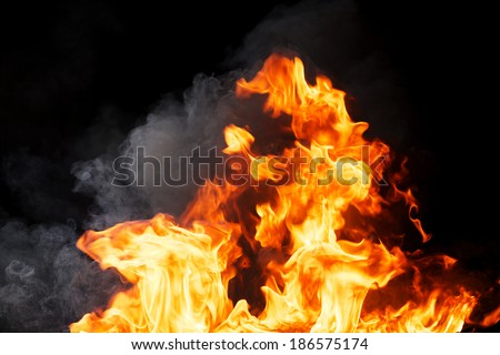 Real Fire Texture With Billowing Smoke