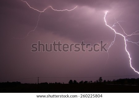 Real flash in the night - stock photo