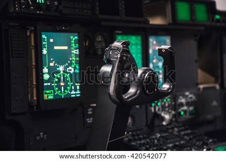 Real Flight Simulator Represented by an Airplane Cockpit into a Room for the Training of the Pilots.