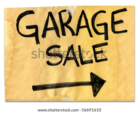 Real Garage Sale Sign - stock photo