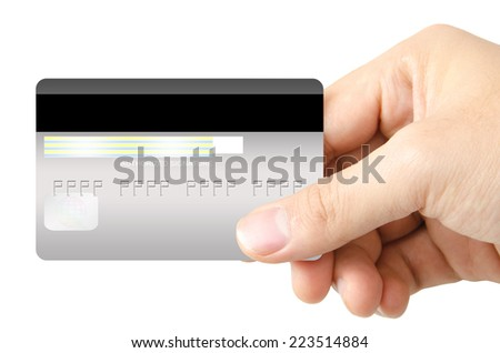 Real human hand is showing the back side of credit card on white background - stock photo
