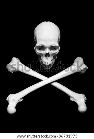 Real human skull with crossed bones - stock photo