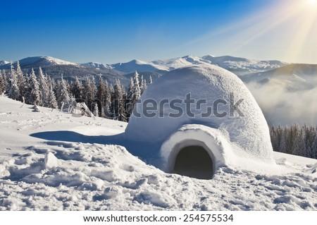 real igloo on the snow - stock photo