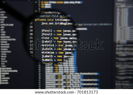 Real java code developing screen programing stock photo royalty real java code developing screen programing workflow abstract algorithm concept lines of java code ccuart Choice Image