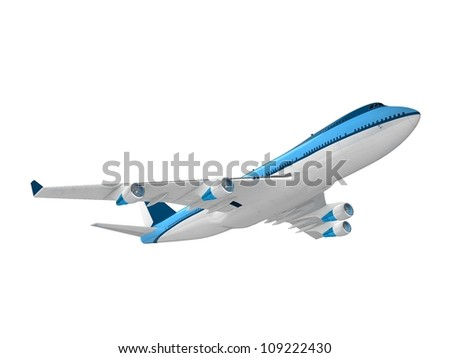 Real jet aircraft, isolated on white background - stock photo